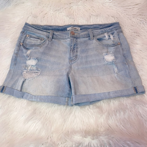 Refuge Boyfriend Distressed Denim Shorts